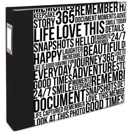 WR-Album-Quoted-Black-White-Wordfetti-12x12-pollici-ad-anelli-extra-big-15194-334